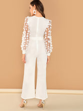 3D Applique Sheer Sleeve Keyhole Front Jumpsuit