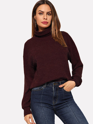 Roll Neck Ribbed Sweatshirt