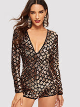 Open Back Geo Sequin Romper