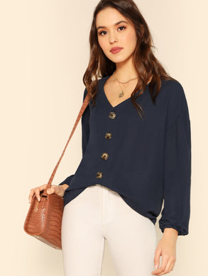 V Neck Button Front Solid Top