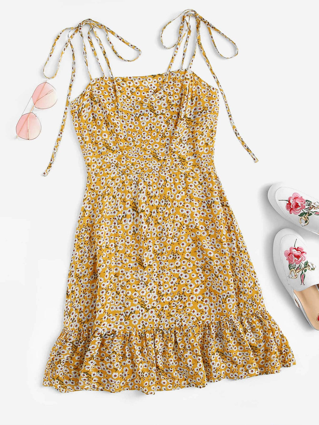 Knot Shoulder Ruffle Hem Floral Dress