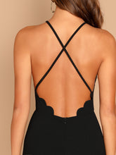 Scallop Trim Halter Dress