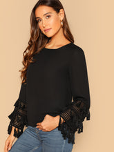Tassel Detail Cuff Solid Top