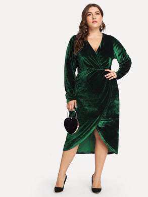 Plus Plunge Neck Wrap Velvet Dress
