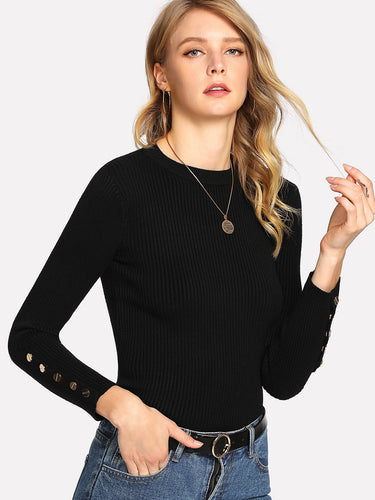 Snap Button Detail Fitted Sweater