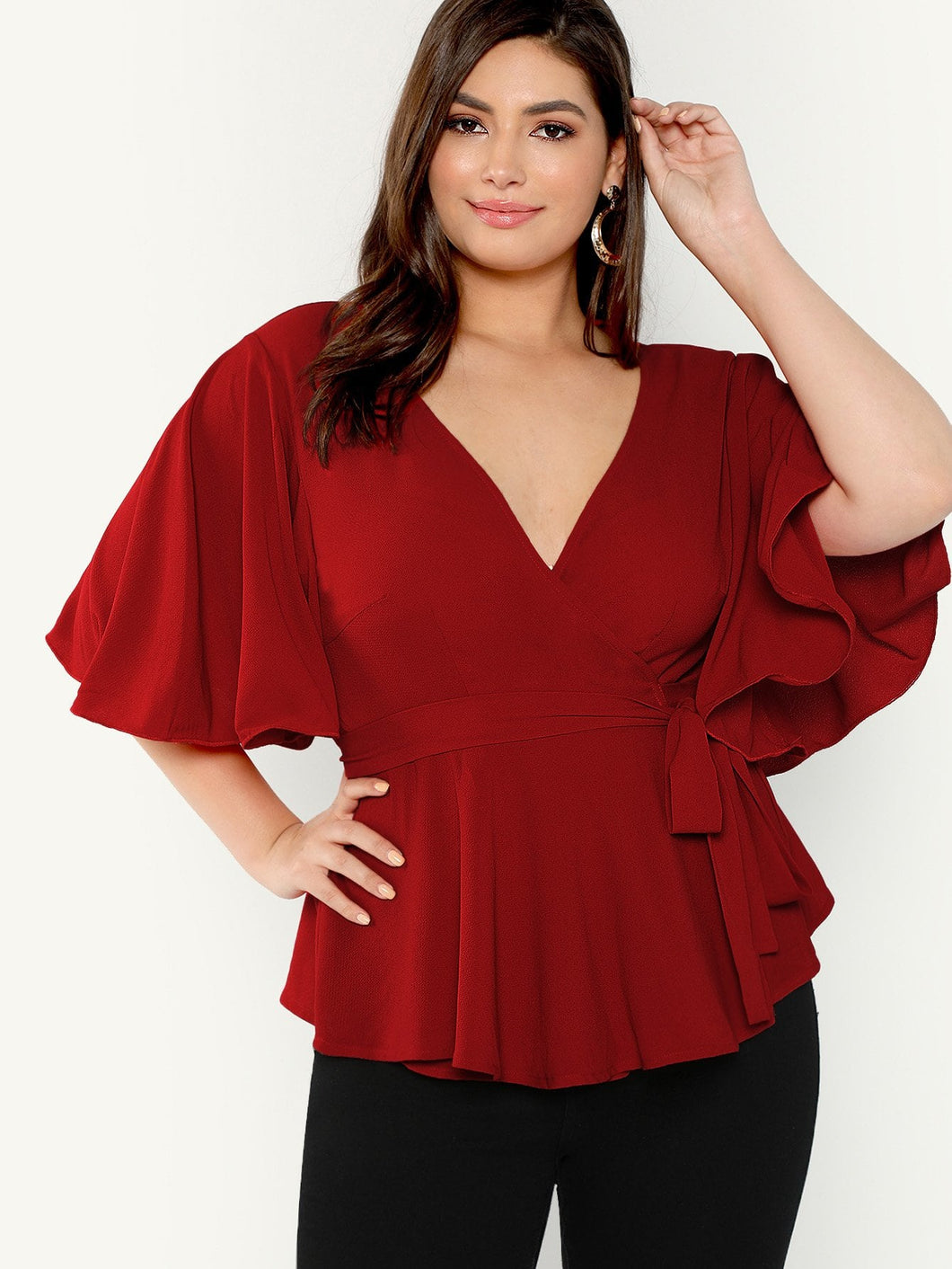 Plus Flutter Sleeve Surplice Wrap Knot Top