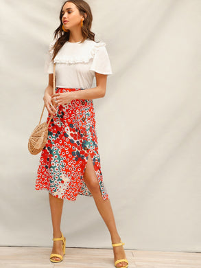 Allover Daisy Button Detail Split Skirt
