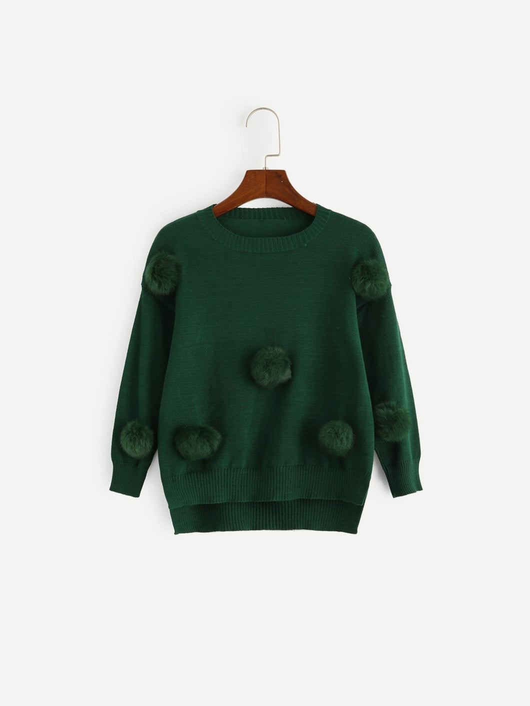 Girls Pompom Detail Split Solid Jumper