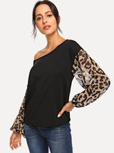 Leopard Contrast Mesh Pullover
