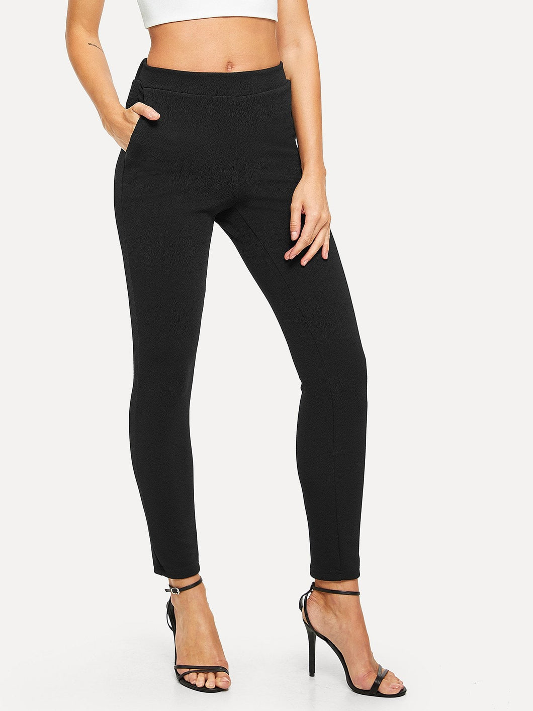 Elastic Waist Textured Pants