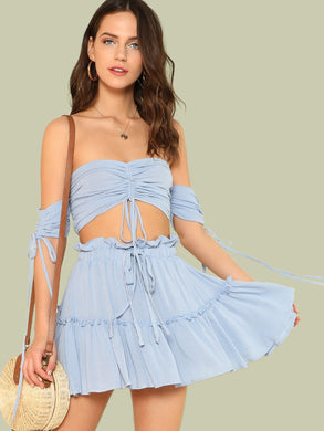 Drawstring Crop Bardot Top With Tiered Skirt Set