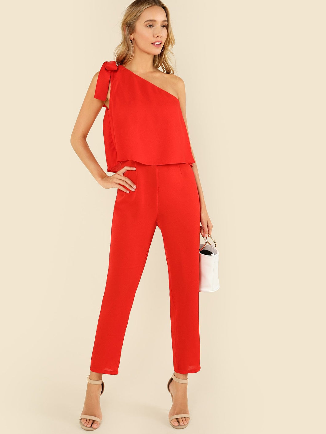 Tied One Shoulder Ruffle Embellished Jumpsuit
