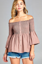 Ladies fashion off the shoulder smocked w/button woven top