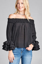 Southern Belle Ruffle Off Shoulder Top