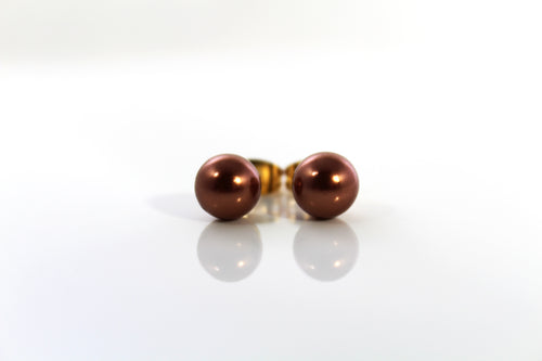 Simulated Pearl Stud Earring - Copper