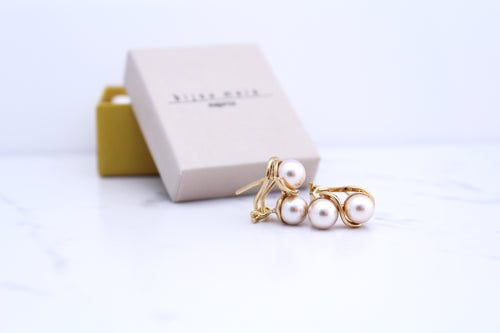 Gold Plated Double Pearl Earring