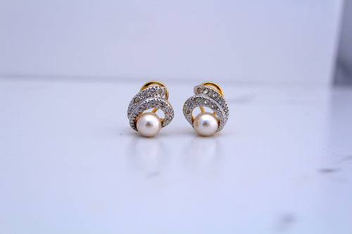 Pearl Earrings with Diamond Accents