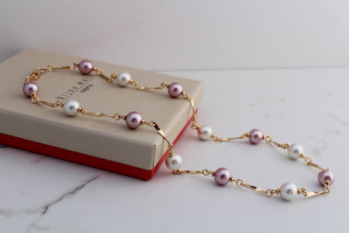 Bijou Maia Pink and White Pearls Necklace. 14K Gold Plated, handmade in Mallorca, Spain