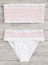 Smocked Bandeau With Frill Trim Bikini Set