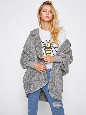 Wide Cuff Hooded Dolman Sleeve Fluffy Teddy Coat