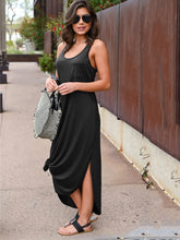 Slit Hem Solid Maxi Tank Dress