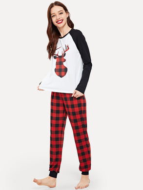 Christmas Raglan Sleeve Graphic Tee & Plaid Pants Set