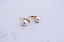 Solitaire 10mm Cream Pearl Earrings, in lever back closure. 14K Gold Plated, handmade in Mallorca, Spain.