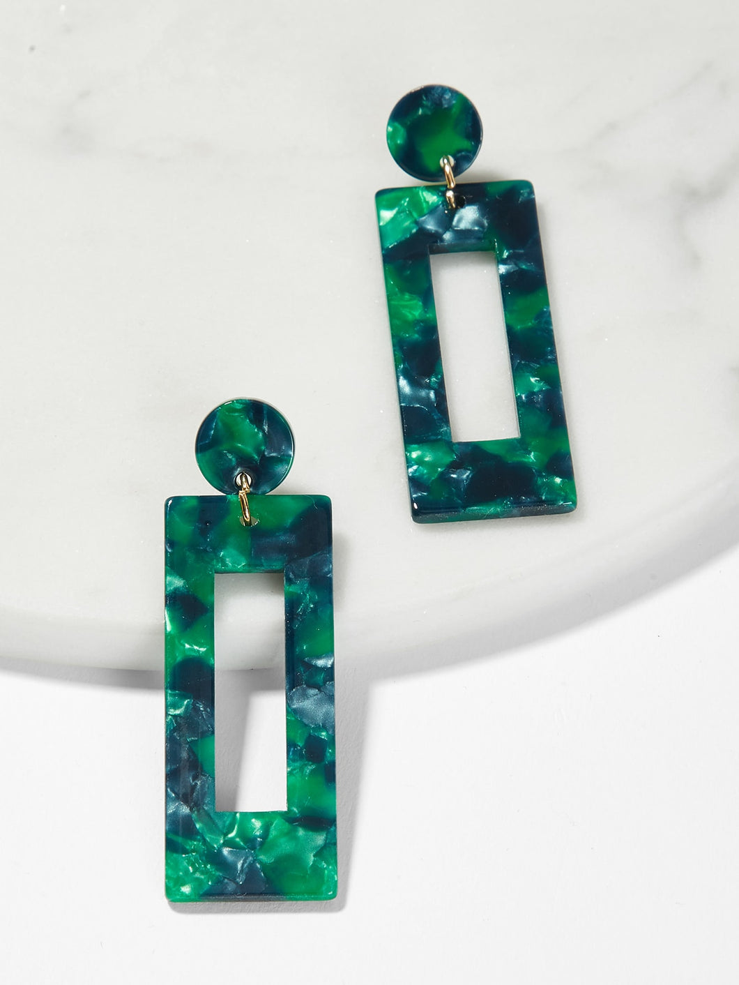 Marble Pattern Rectangle Drop Earrings