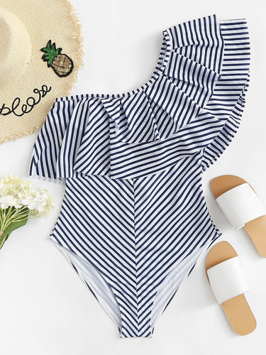Layered Flounce Striped One Shoulder One Piece Swimsuit