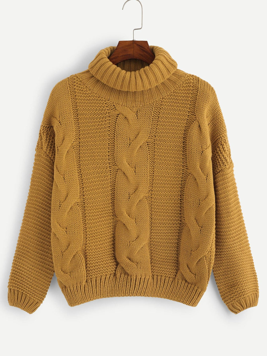 High Neck Cable-Knit Sweater