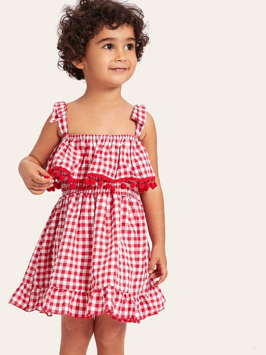 Toddler Girls Pom Pom Trim Gingham Straps Dress