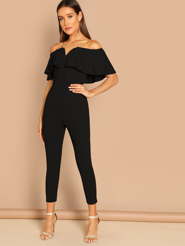Off Shoulder Ruffle Skinny Jumpsuit