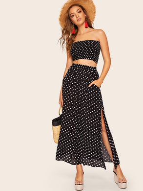 Polka Dot Shirred Bandeau Top & Maxi Skirt Set