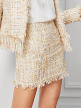 Fringe Hem Tweed Skirt