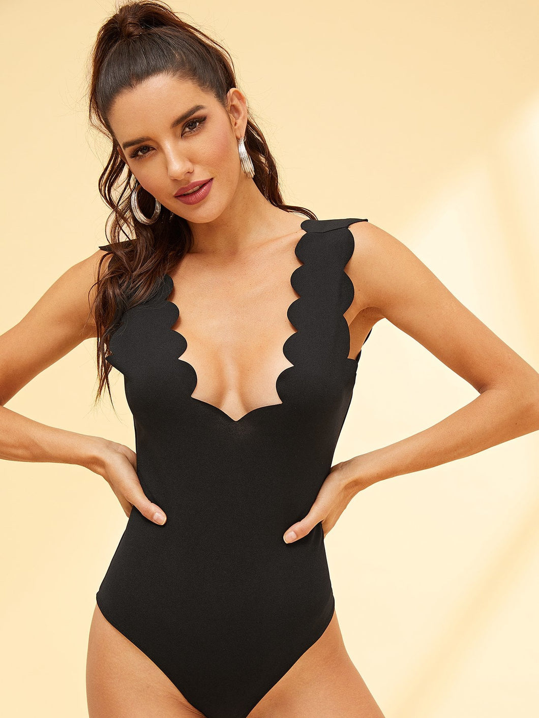 Scallop Trim Solid Bodysuit