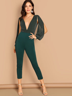 Deep Plunge V Neck Split Sleeve Jumpsuit