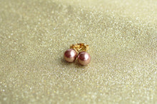 8mm gold plated copper pearl stud