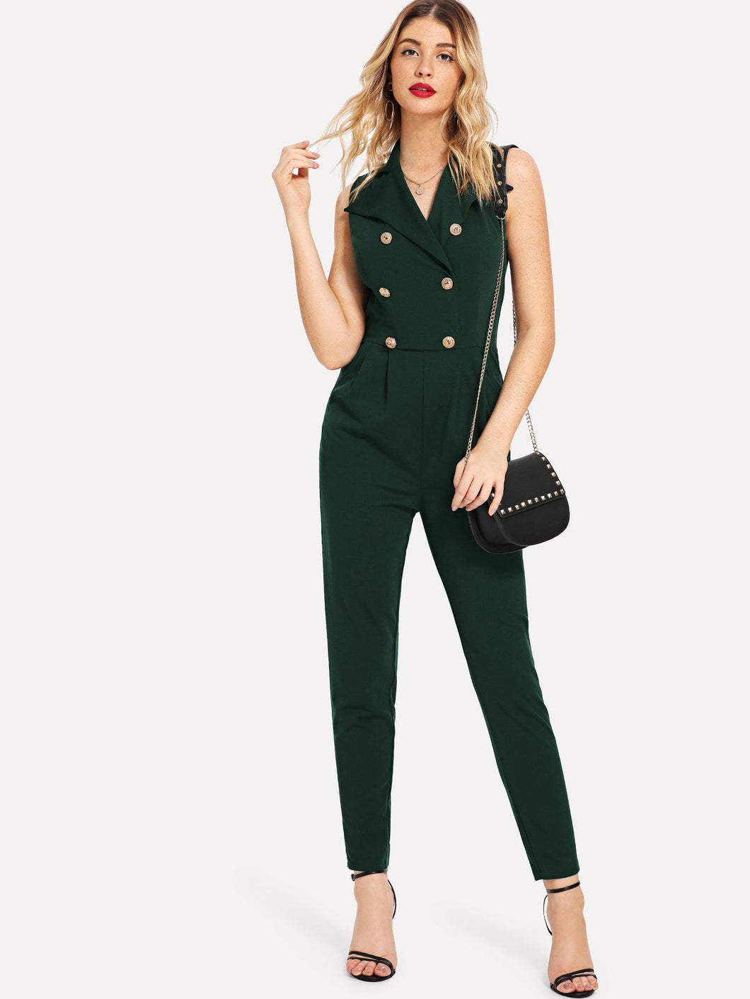 Double Breasted Pleated Tailored Jumpsuit
