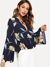 Cross Criss Front Flower Print Wrap Top