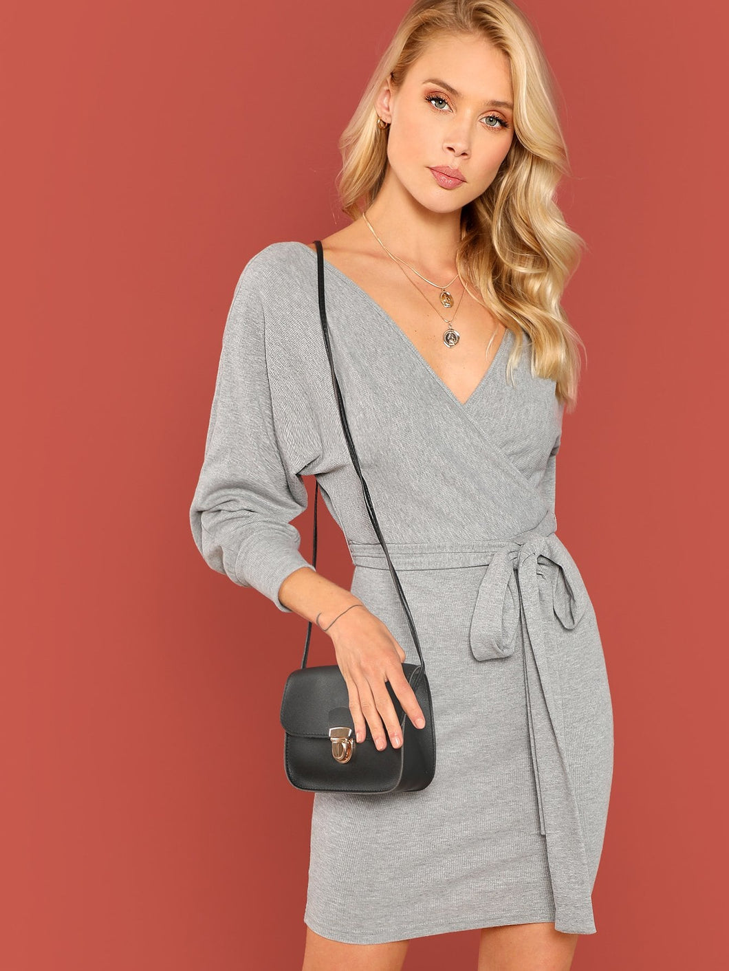 Surplice Wrap Dolman Sleeve Rib Knit Dress