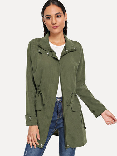 Solid Drawstring Waist Coat