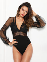 Plunge Neck Lace Insert Sheer Mesh Bodysuit