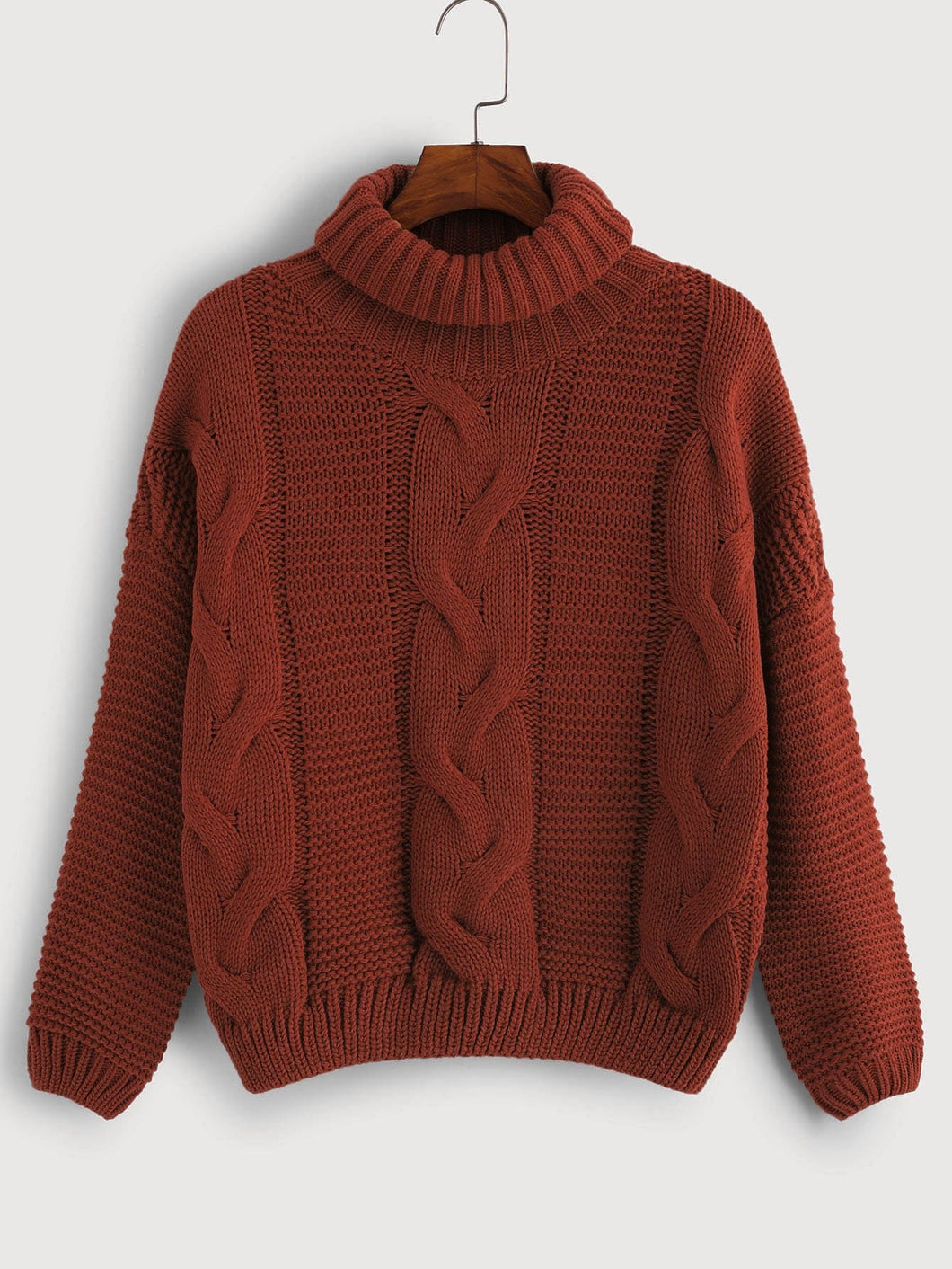 High-Neck Cable Knit Sweater