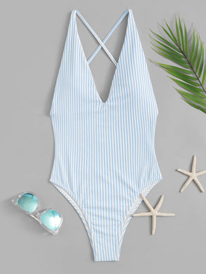 Striped Criss Cross Backless One Piece Swimsuit