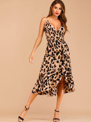 Leopard Print Ruffle Hem Wrap Cami Dress