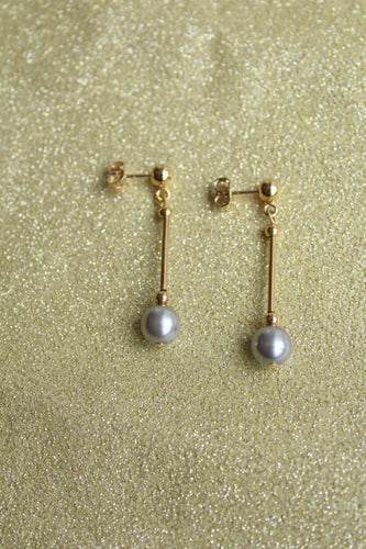 Long Drop Solitaire Silver Pearl Earring