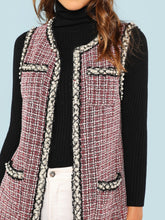 Open Front Tweed Vest Coat