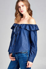 Lilah Chambray Off Shoulder Top