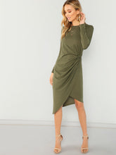 Draped Asymmetric Pencil Dress