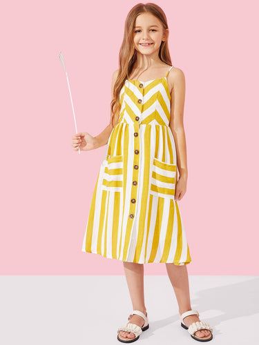 Girls Button Up Striped Slip Dress